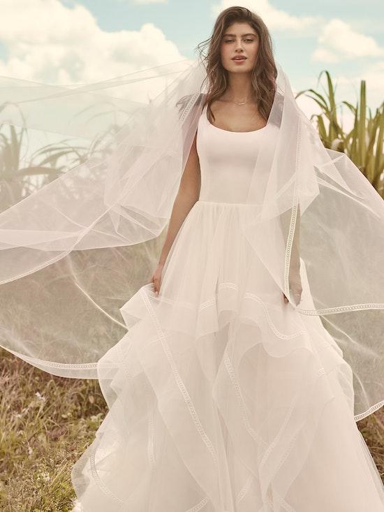 Rebecca Ingram Rosemary Minimalist Tiered Tulle Ball Gown Wedding Dress 21RW379 Alt8