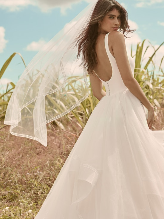 Rebecca Ingram Rosemary Minimalist Tiered Tulle Ball Gown Wedding Dress 21RW379 Alt9