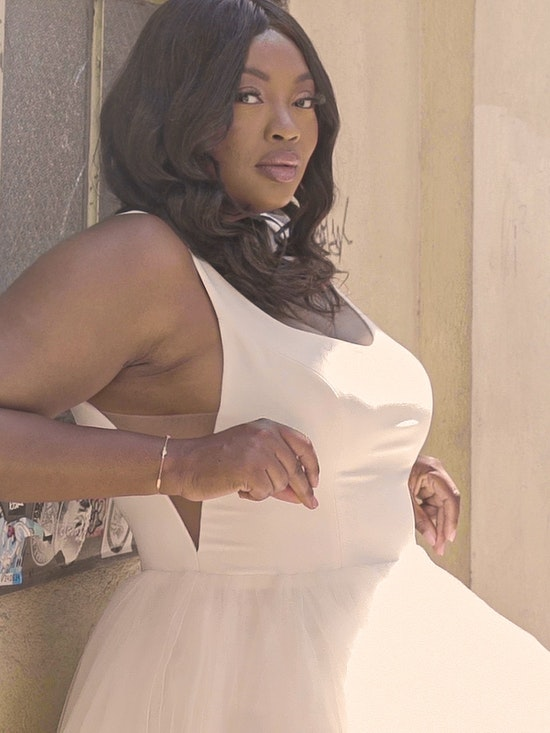 Rebecca Ingram Rosemary Minimalist Tiered Tulle Ball Gown Wedding Dress 21RW379 Curve-Alt11
