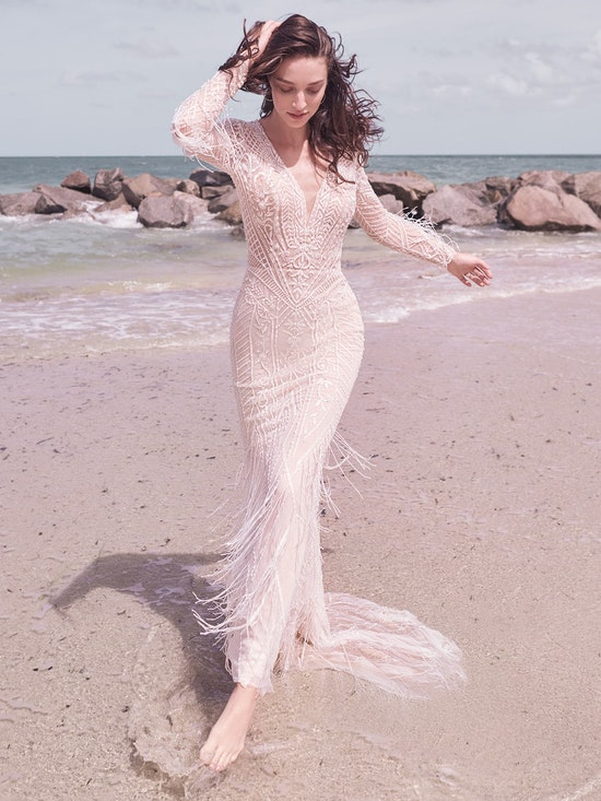 Sottero and Midgley Andrew Art Deco Beaded Sheath Wedding Dress 21SZ418 Alt3