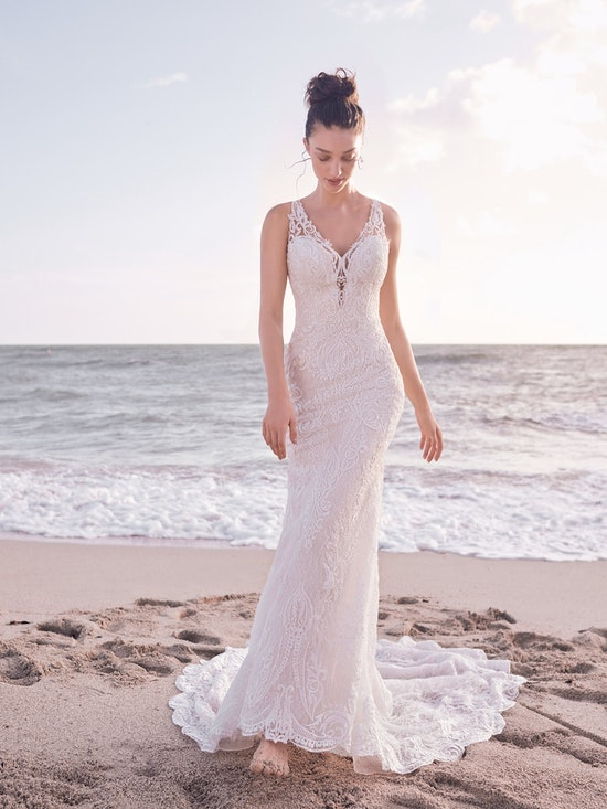 Sottero and Midgley Bellamy Vintage Bishop Sleeve Bridal Gown with Detachable Overskirt 21SW370 Alt4