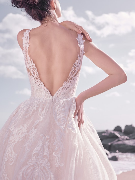 Sottero and Midgley Bellamy Vintage Bishop Sleeve Bridal Gown with Detachable Overskirt 21SW370 Alt6