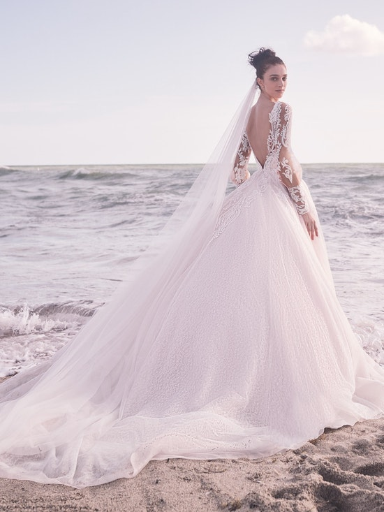 Sottero and Midgley Bellamy Vintage Bishop Sleeve Bridal Gown with Detachable Overskirt 21SW370 Alt7