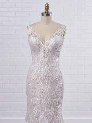 Sottero and Midgley Bellamy Vintage Bishop Sleeve Bridal Gown with Detachable Overskirt 21SW370 Color2