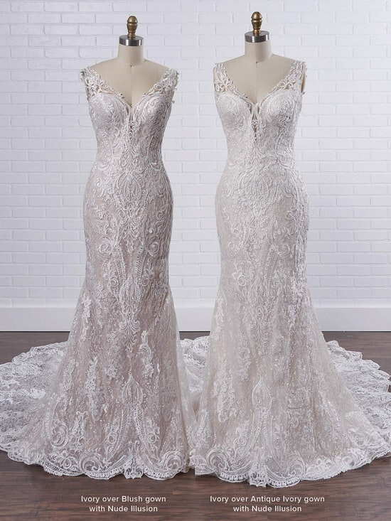 Sottero and Midgley Bellamy Vintage Bishop Sleeve Bridal Gown with Detachable Overskirt 21SW370 Color3