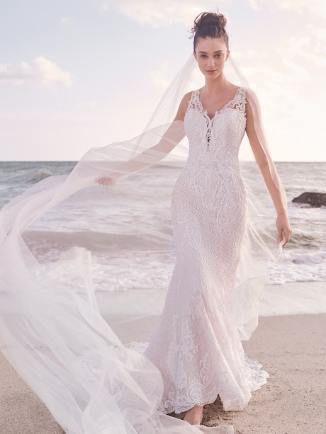 Sottero and Midgley Bellamy Vintage Bishop Sleeve Bridal Gown with Detachable Overskirt 21SW370 Main