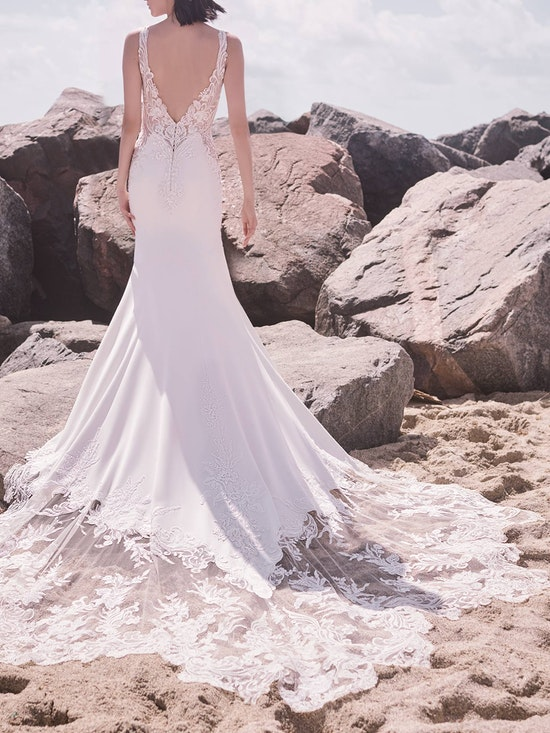 Sottero and Midgley Dean Sexy V-back Crepe Bridal Gown 21SW339 Alt6