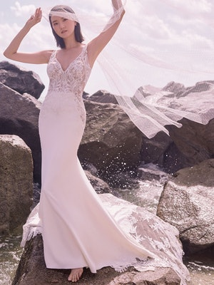 Sottero and Midgley Dean Sexy V-back Crepe Bridal Gown 21SW339 Main