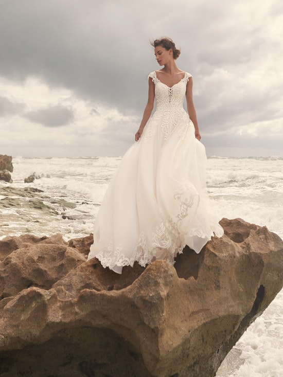 Sottero and Midgley Jada Sophisticated Sheath Wedding Dress with Detachable Overskirt 21SC405 Alt1