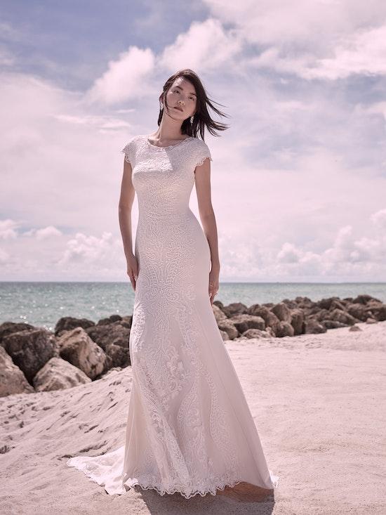 Sottero and Midgley Kevyn Leigh Modest Cap-Sleeve Vintage Wedding Dress 21SC412 Alt1