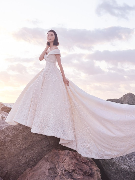 Sottero and Midgley Thomas Off-the-Shoulder Ball Gown Wedding Dress with Portrait Neckline 21SZ372 Alt1