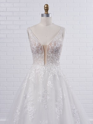 Maggie Sottero Leticia Romantic A-line bridal gown with a soft and feminine skirt 21MK394 Color1