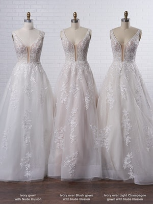 Maggie Sottero Leticia Romantic A-line bridal gown with a soft and feminine skirt 21MK394 Color4