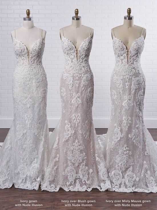 Maggie Sottero Tuscany Royale Sparkly lace sheath bridal dress with illusion lace double train 21MS347 Color4