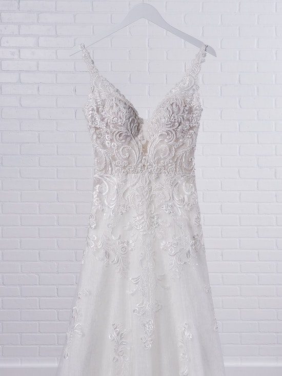 Maggie Sottero Johanna Illusion lace sleeve A-line wedding gown inspired by modern royalty 21MS349 Color1