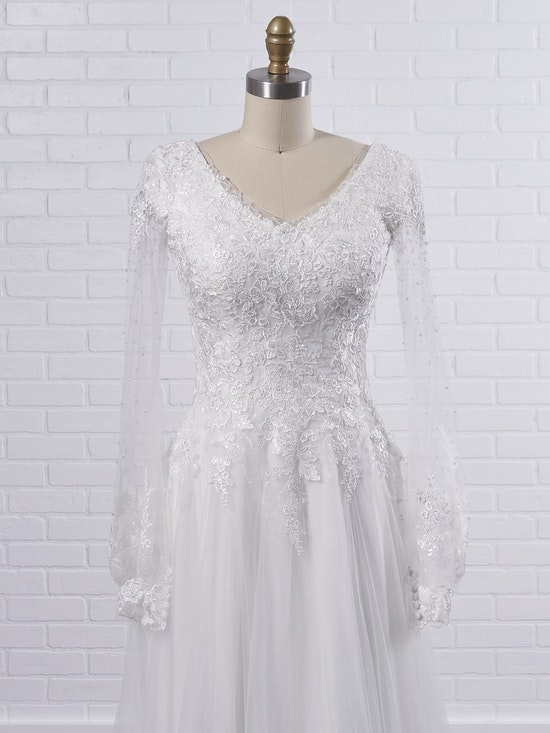Maggie Sottero Pamela Leigh Modest illusion bishop sleeve wedding dress for a whimsical look 21MS353 Color1