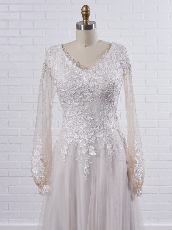 Maggie Sottero Pamela Leigh Modest illusion bishop sleeve wedding dress for a whimsical look 21MS353 Color2