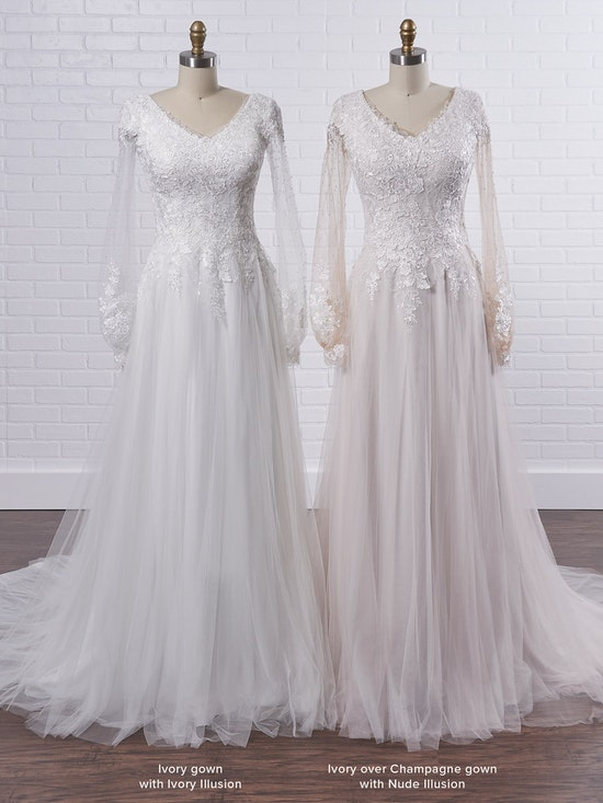Maggie Sottero Pamela Leigh Modest illusion bishop sleeve wedding dress for a whimsical look 21MS353 Color3