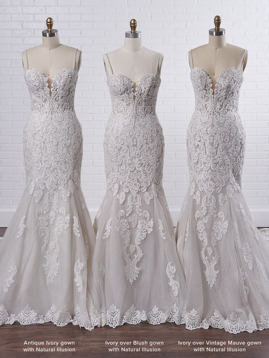 Maggie Sottero Fiona Sparkly lace fit-and-flare bridal dress with off-the-shoulder sleeves 21MS366 Color4