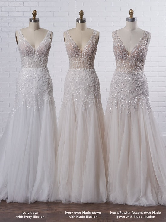 Maggie Sottero Geneva Nature-inspired lace fit-and-flare wedding dress with shimmery motifs 21MZ401 Color4