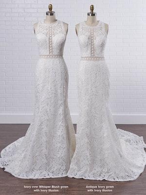 Rebecca Ingram Belinda Unique keyhole back bridal gown with an illusion halter neck 21RK343 Color3