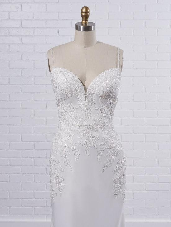Rebecca Ingram Aubrey Simple spaghetti strap sheath bridal dress with a touch of sparkle 21RN395 Color1