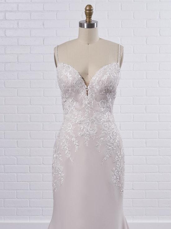 Rebecca Ingram Aubrey Simple spaghetti strap sheath bridal dress with a touch of sparkle 21RN395 Color2