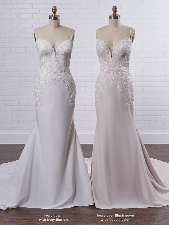 Rebecca Ingram Aubrey Simple spaghetti strap sheath bridal dress with a touch of sparkle 21RN395 Color3