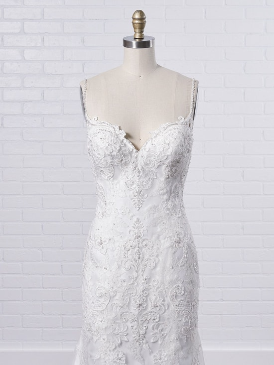 Maggie Sottero Glorietta Elegant fit-and-flare bridal dress featuring eye-catching lace motifs 9MC882 Color1