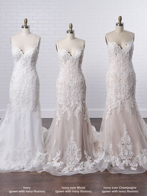 Maggie Sottero Glorietta Elegant fit-and-flare bridal dress featuring eye-catching lace motifs 9MC882 Color4