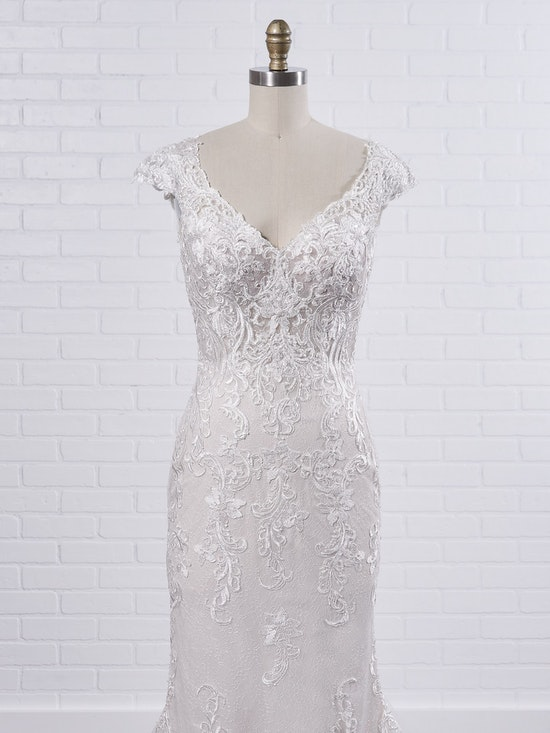 Maggie Sottero Celeste Delicate chic sheath wedding dress designed to flatter from all angles 9MS901 Color1
