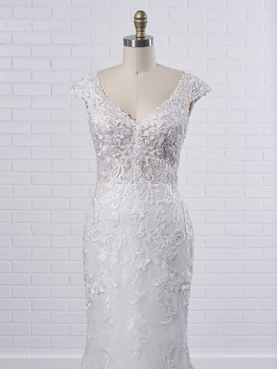 Maggie Sottero Celeste Delicate chic sheath wedding dress designed to flatter from all angles 9MS901 Color2