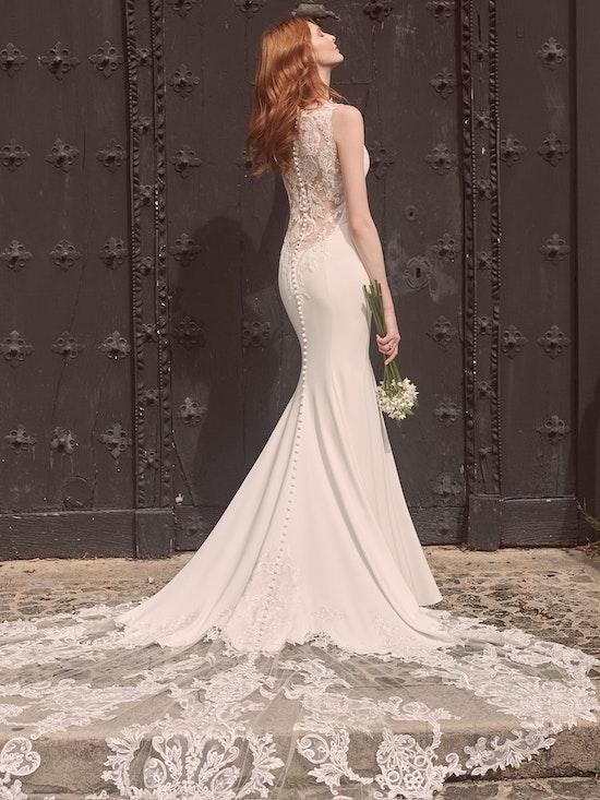 Maggie Sottero Alyssa Minimalist modern crepe wedding gown with a statement back 21MW352 Alt3