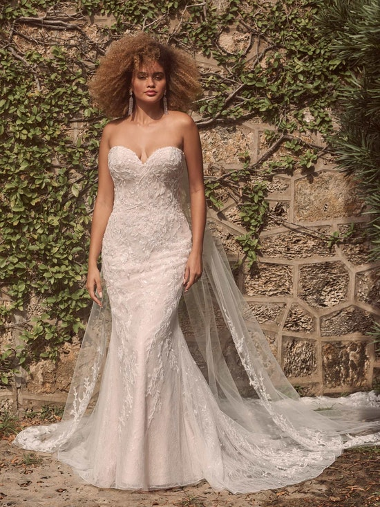 Maggie Sottero Charmaine Off-the-shoulder nature-inspired bridal gown with flirty floral motifs 21MK371 Alt6