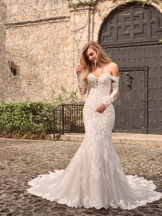 Maggie Sottero Fiona Sparkly lace fit-and-flare bridal dress with off-the-shoulder sleeves 21MS366 Alt6