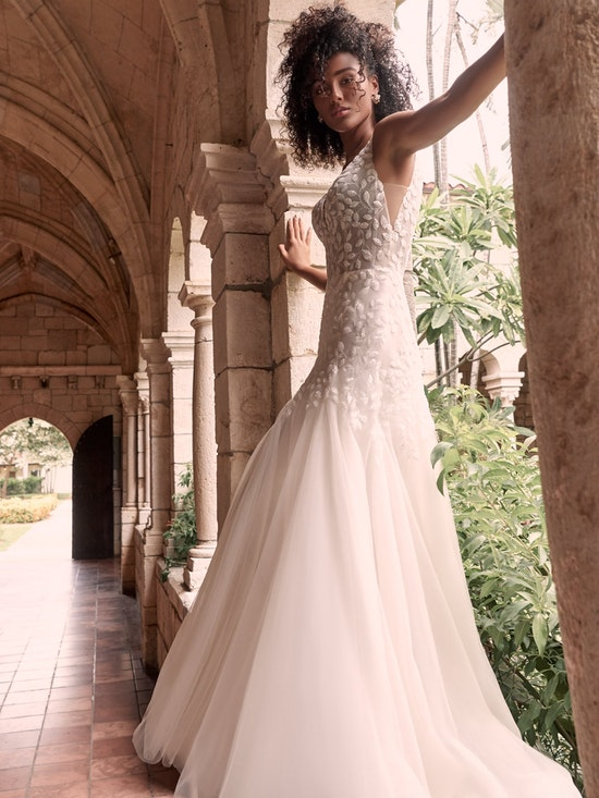 Maggie Sottero Geneva Nature-inspired lace fit-and-flare wedding dress with shimmery motifs 21MZ401 Alt11