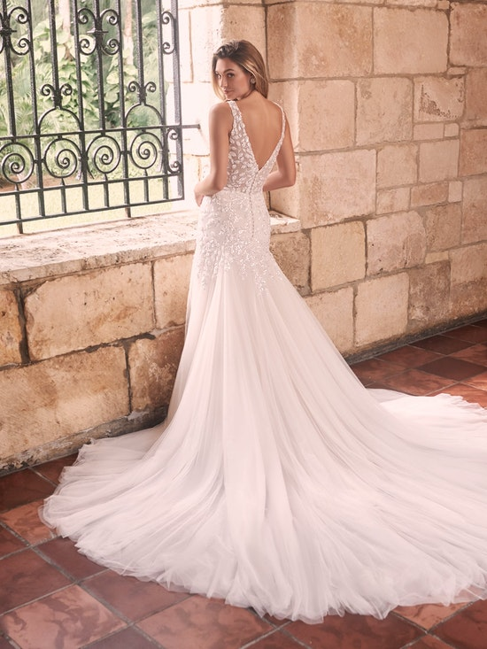 Maggie Sottero Geneva Nature-inspired lace fit-and-flare wedding dress with shimmery motifs 21MZ401 Alt13