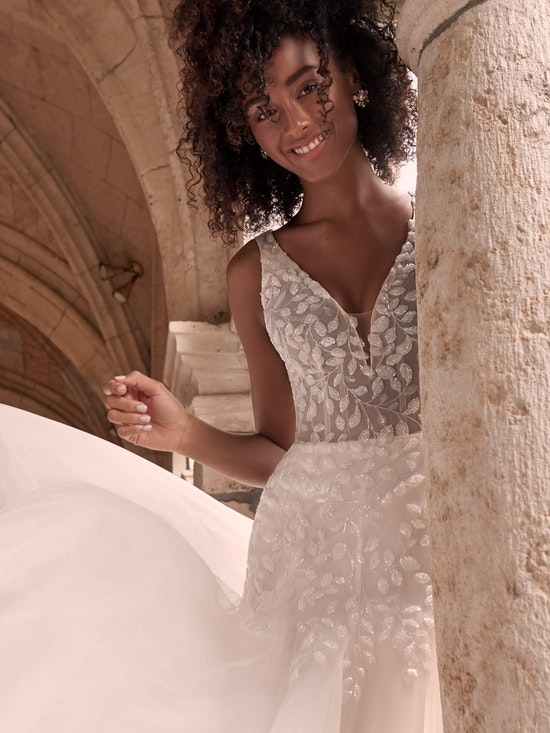 Maggie Sottero Geneva Nature-inspired lace fit-and-flare wedding dress with shimmery motifs 21MZ401 Alt9