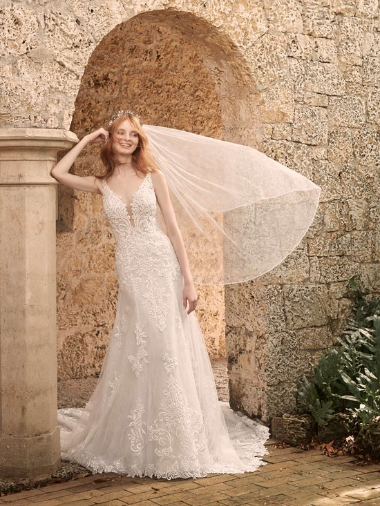 Maggie Sottero Johanna Illusion lace sleeve A-line wedding gown inspired by modern royalty 21MS349 Alt10