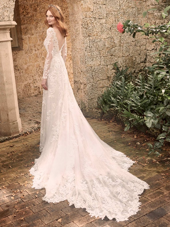 Maggie Sottero Johanna Illusion lace sleeve A-line wedding gown inspired by modern royalty 21MS349 Alt11