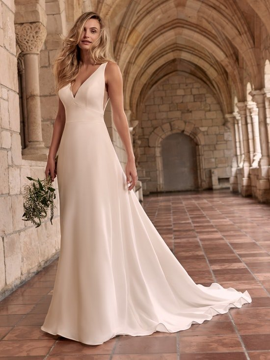 Maggie Sottero Josephine Chic and modern minimalist crepe A-line wedding dress 21MW374 Alt7