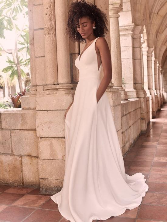 Maggie Sottero Josephine-Lynette Plus Size Chic and modern minimalist crepe A-line wedding dress 21MW374B Alt7