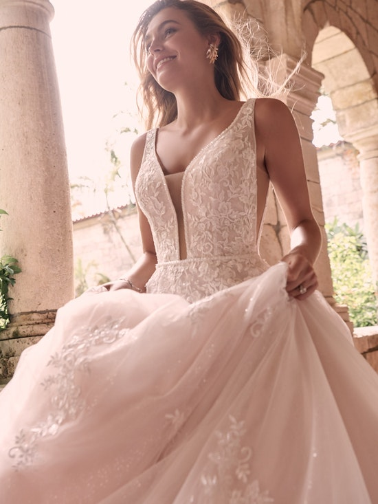 Maggie Sottero Leticia-Lynette Plus Size Romantic A-line bridal gown with a soft and feminine skirt 21MK394B Alt5
