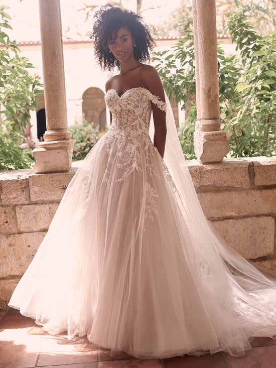 Maggie Sottero Orlanda Strapless floral princess wedding dress with an illusion lace bodice 21MW359 Alt7