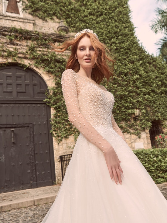 Maggie Sottero Rosette Pearl long sleeve ball gown wedding dress with exquisite beading 21MS356 Alt9