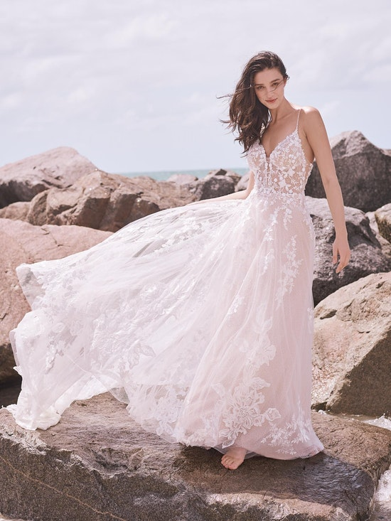 Sottero and Midgley Marlow Romantic keyhole back wedding dress in an A-line silhouette 21SC429 Alt7