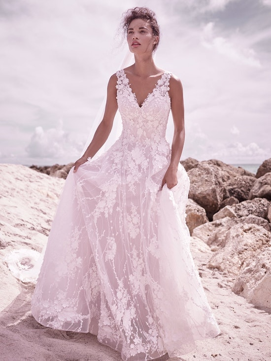 Sottero and Midgley Reeve Luxurious 3-D floral lace ball gown wedding dress with long sleeves 21SC430 Alt5