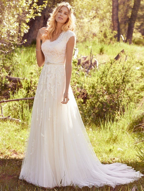 Ashley (7MS410) Modest Lace Wedding Dress by Maggie Sottero