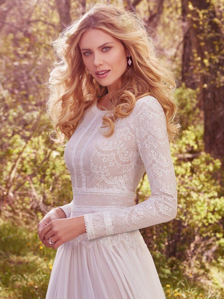 Deirdre Marie (7MW366) Modest Vintage lace Wedding Dress by Maggie Sottero