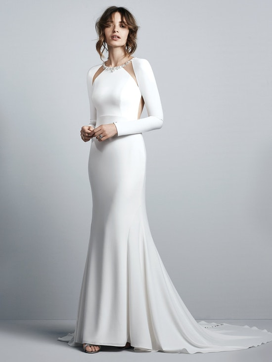 Arleigh (7SW995) Simple Long Sleeve Crepe Wedding Dress by Sottero and Midgley